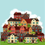 Town background design with cottages and houses Stock Photos