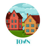Town background design with cottages and houses Stock Image