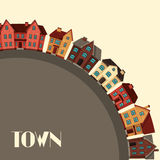 Town background design with cottages and houses Royalty Free Stock Photos
