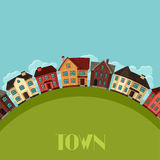 Town background design with cottages and houses Royalty Free Stock Image