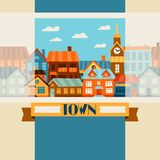 Town background design with cute colorful houses Royalty Free Stock Image