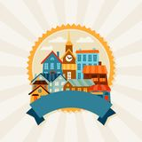 Town background design with cute colorful houses Royalty Free Stock Images