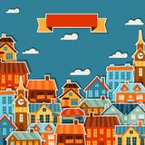 Town background design with cute colorful sticker Stock Photography