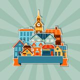 Town background design with cute colorful sticker Royalty Free Stock Photography