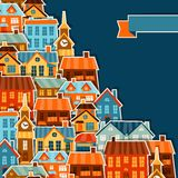 Town background design with cute colorful sticker Stock Image