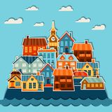Town background design with cute colorful sticker Royalty Free Stock Image