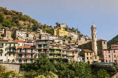 Town of Badalucco Italy. Photo of the small old town of Badalucco in Italy in the province of Imperia, the Italian region Liguria Royalty Free Stock Photo