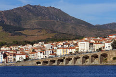 Town of Banyuls-sur-Mer in the French Mediterranean coast. With the Madeloc tower in background, Roussillon, Vermilion coast, France Royalty Free Stock Image