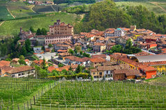 Town of Barolo and green vineyards of Piedmont. Stock Image
