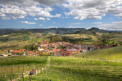 Town of Barolo among hills. Piedmont, Italy. Stock Images