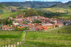 Town of Barolo among hills. Piedmont, Italy. Stock Photos