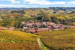 Town of Barolo among vineyards in Italy. Stock Images