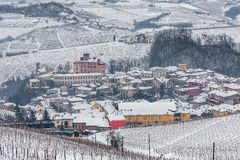 Town of Barolo in winter. Royalty Free Stock Photos