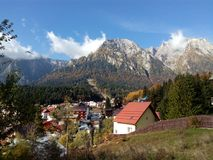 Town at the base of the mountain. Houses at the base of the mountain Royalty Free Stock Image
