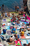 Town beach in Manarola, Cinque Terre, Italy Royalty Free Stock Photos