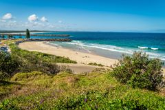 Town beach in Port Macquarie in the summer, Australia royalty free stock photos