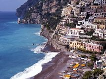 Town and beach, Positano, Italy. Royalty Free Stock Image