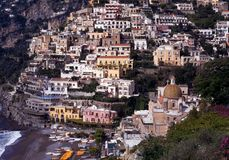 Town and beach, Positano, Italy. Royalty Free Stock Photography
