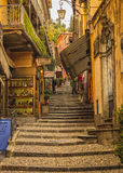 The town of Bellagio, Lake Como, Italy. One of several shopping, stairway alleys Stock Images