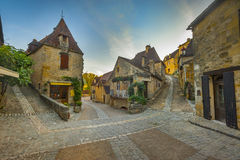 Town of Beynac, France. Medieval town of Beynac, on the Dordogne river, directly beneath the chateau of Beynac Royalty Free Stock Photos
