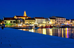 Town of Biograd evening view at blue hour Royalty Free Stock Image