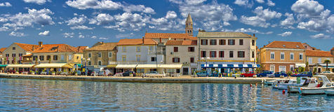 Town of Biograd na moru waterfront. Town of Biograd na moru colorful waterfront panoramic view, Dalmatia, Croatia Royalty Free Stock Images