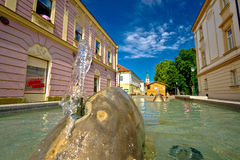 Town of Bjelovar fountain and square view Stock Photography