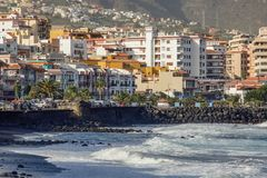 Town and black sand beach of Candelaria. Eastern part of Tenerife in the Spanish Canary Islands stock photos