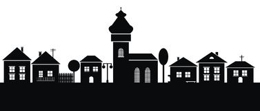 Town, black silhouette Stock Photo