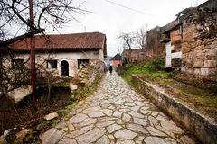 Town with brick trail. Royalty Free Stock Photos