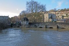Town bridge, Bradford on Avon, UK. Town bridge over a flooded River Avon, Bradford on Avon, United Kingdom Stock Images