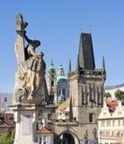 Town bridge tower and Saint Nicholas church Royalty Free Stock Image