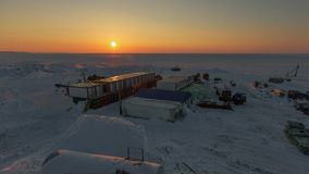 Town of builders in the Arctic. stock video footage