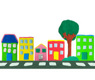 Town building made from plasticine Royalty Free Stock Photo