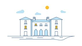 Town building view thin line. Linear house exterior. Town street scene. Outline vector illustration royalty free illustration