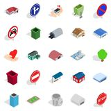 Town buildings icons set, isometric style. Town buildings icons set. Isometric set of 25 town buildings vector icons for web isolated on white background Royalty Free Stock Image