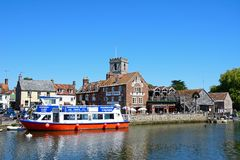 Town buildings and river, Wareham. Stock Photography