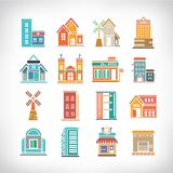 Town Buildings set Stock Photos