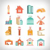 Town Buildings set Stock Image