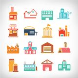 Town Buildings set Stock Photography