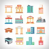 Town Buildings set Stock Images