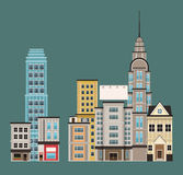 Town buildings shops first floor. Vector illustration eps 10 Stock Photo