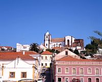 Town buildings, Silves, Portugal. Royalty Free Stock Images