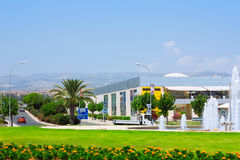 Town buildings view. Cyprus. Shopping center with a fountain in park royalty free stock photo