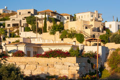 Town buildings view. Cyprus village in sunset stock photos