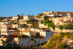 Town buildings view. Cyprus village in sunset royalty free stock image