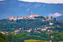 Town of Buzet on green istrian hill stock image