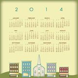 2014 town calendar. Illustration of 2014 calendar with small town houses Stock Photo