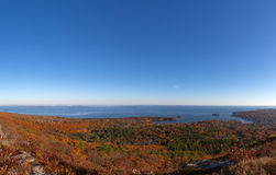 Town of Camden Maine in the late fall. View of distant Camden Maine from Mt. Battie in the late fall Stock Images