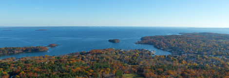Town of Camden Maine in the late fall. Wide view of Camden Maine from Mt. Battie in the late fall Stock Images